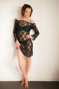 Lingerie - Black Beauty Long Sleeve Lace Chemise