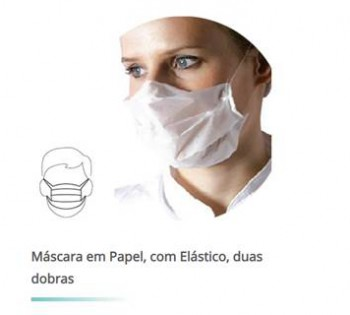HEALTH MASKS IN WHITE PAPER, WITH ELASTICS