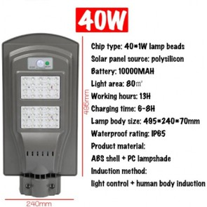 Solar energy Motion sensor 40W street lighting Waterproof outdoor lamp - PO-40P