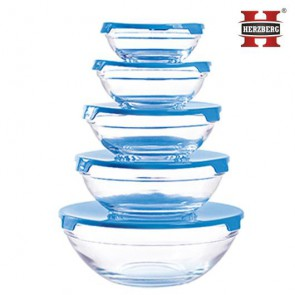 Herzberg HG-5007;Transparent glass bowls Set 10pcs Blue