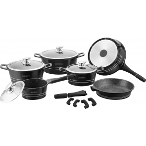 Royalty Line RL-ES1014M; Cookware set with marble coating 14 pcs Black