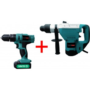 Kraftmax International KF-CDRH025; Rotary Hammer and Cordless Drill Combo Kit