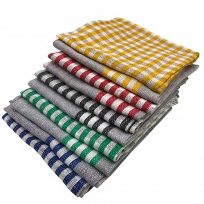 Cenocco CC-9069: 10 - Pieces Vintage Stripe & PlaidCotton Kitchen Towel Set - Grey