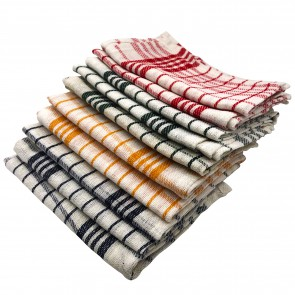 CC-9067: 10 - Pieces Vintage Plaid Fine Weave Cotton Kitchen Towel Set