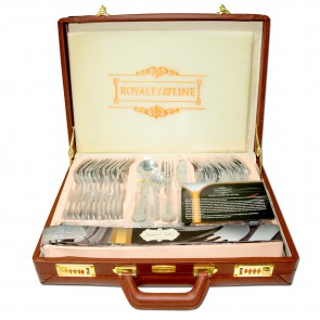 Royalty Line RL-72S2:72-Pieces Old Dutch Silver Cutlery Set In Suitcase