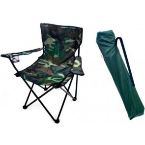 Camping chair - Fishing chair with cup holder - High backrest - 110 kg loadable - incl carrying bag - PO-7505