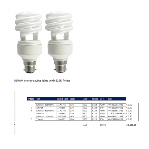 Osram energy saving lamps with B22D fitting
