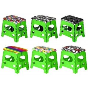 Foldable decorated step stool 32 cm