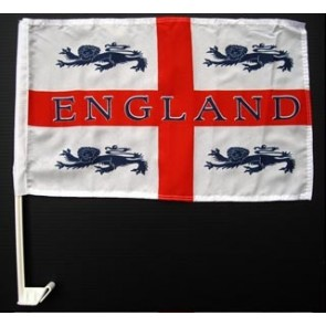 England 4 Lions Car flag