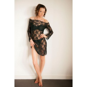 Lingerie - Black Beauty Long Sleeve Lace Chemise