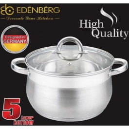 EDËNBËRG EB-3728 saucepan with lid - Ø 26 cm - 8.2L - Equipped with 5-layer base!
