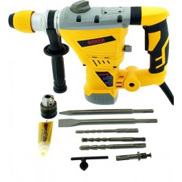 Boxer Professional Hammer 3350W SDS + - Softgrip - Incl. 3 SDS drills, 2 SDS chisels and an additional drill head.