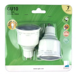 energy saving bulbs 2 pcs, 7 Watt, GU10, warm white, EGLO