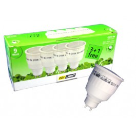 energy saving bulbs 4 pcs, 9 Watt, GU10, warm white, EDI-LIGHT