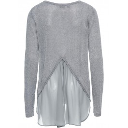 Ladies Lurex Sweater with Chiffon Gray Silver Pullover Winter Stocklots